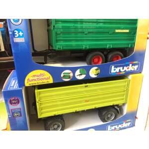 BRUDER pakeliama priekaba su pakeliamais bortais BRUDER Tandemaxle Tipping Trailer With Removable Top, 02010