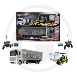 Dickie RC MB Actros/Forklift Clark C25 nuotolinio valdymo rinkinys sunkvežimis ir krautuvas