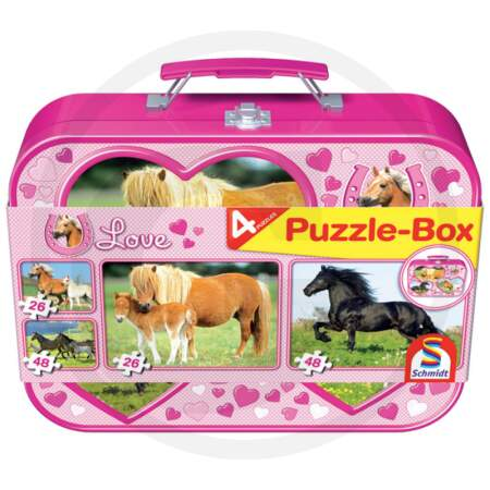 Puzle rinkinys su žirgais metalinėje dėžutėje 55588