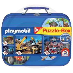SCHMIDT PLAYMOBIL Puzzle dėžutė 2x60, 2x100 vnt. Metaliniame korpuse nuo 3 metų