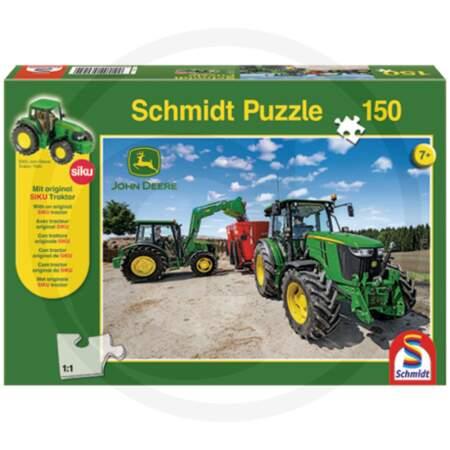 Schmidt Puzzle, John Deere + Original SIKU tractor, 150 pieces