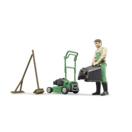 BRUDER bworld sodininkas su vejapjove ir įranga Prekės Nr. 62103 BRUDER žoliapjovė, 62103