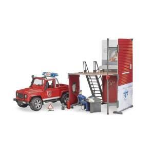 BRUDER bWorld gaisrinė su Land Rover ir gaisrininku, 62701