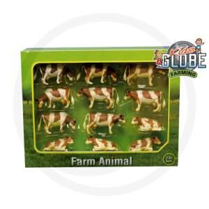 Karvių rinkinys Kids Globe 12 karvės gulinčios ir stovinčios, rudos / baltos spalvos