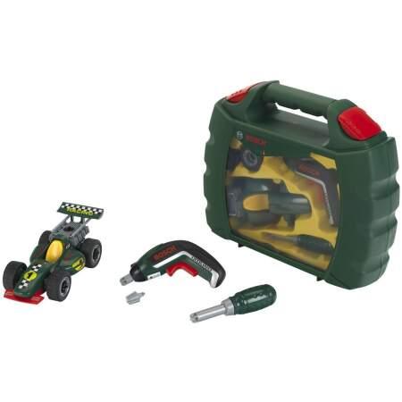 Įrankių lagaminas Klein  su formulės automobiliu mažajam remonto meistrui