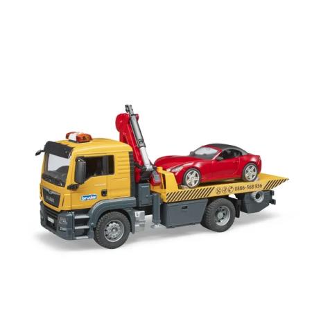 BRUDER auto vilkikas MAN TGS su Roadster automobiliu, 03750