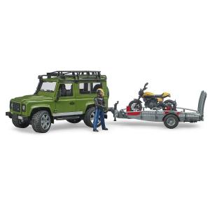 """""""Bruder Land Rover Defender"""" džipas su motociklininku, priekaba ir motociklu"""