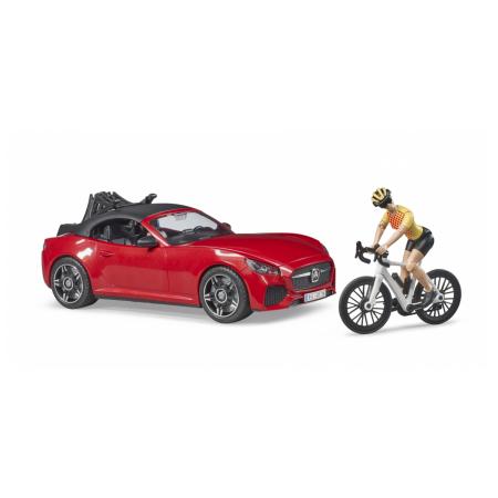 BRUDER automobilis Roadster ir dviratininkas su kelių dviračiu, 03485 2020 m kolekcija, 03485