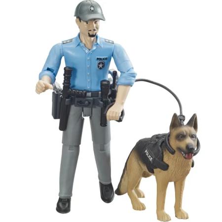 BRUDER figūrėlė žmogeliukas Policininkas su šunimi, 62150