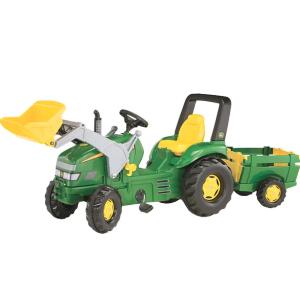 John Deere X-Trac vaikiškas minamas traktorius su priekaba ir priekiniu kašu