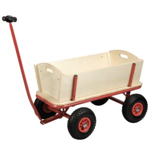 Medinis vagonas su keturiomis pneumatinėmis padangomis ir giliu erdviu konteineriu, karutis