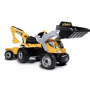 SMOBY Traktorius pedalinis su priekaba Builder Max oranžinis