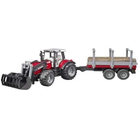 BRUDER Massey Ferguson 7480 Tractor 02046 Traktorius su rąstų priekaba, 02046