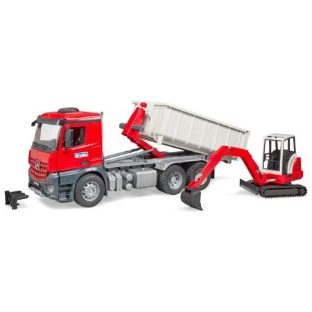 """BRUDER sunkvežimis su konteineriu + """"Schaeff"""" mini ekskavatorius MB """"Arocs"""", 03624"""