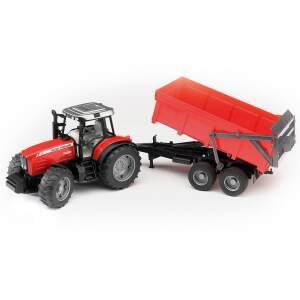BRUDER vaikiškas žaislinis mini traktorius Massey Ferguson 7480 su priekaba, 02045