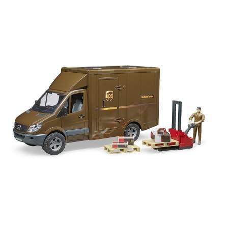 BRUDER siuntų pašto automobilis UPS MB Sprinter su vairuotoju ir priedais, 02538