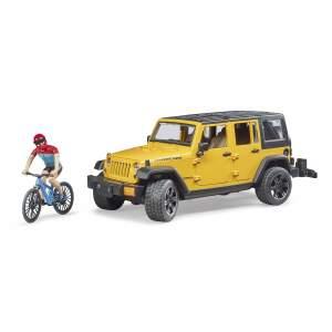 BRUDER  Jeep Wrangler Rubicon Unlimited su dviratininku ir kalnų dviračiu 02543