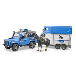 BRUDER Policijos džipas Land Rover  su policijos arkliu ir arklio priekaba, 02588