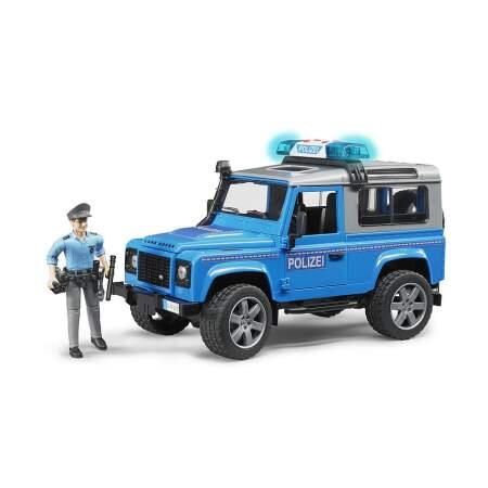 BRUDER policijos DŽIPAS LAND ROVER DEFENDER STATION WAGON policininko automobilis džipas su pareigūnu, 02597