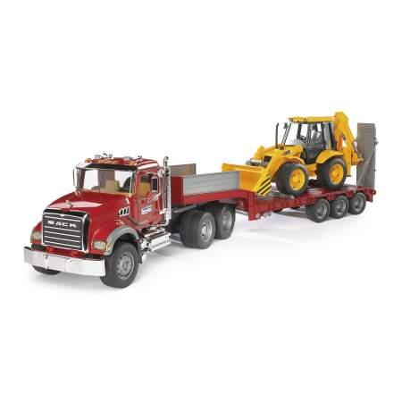 BRUDER sunkvežimis su priekaba ir traktorium-ekskavatorium CAT, 02813