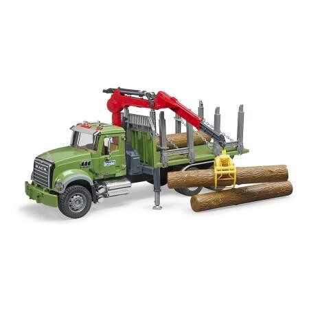 BRUDER žaislinis miškovežis su pakrovimo kranu ir rąstais (3 vnt.), 02824