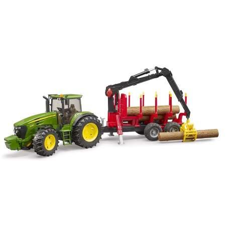 BRUDER John Deere 7930 traktorius su pakrovimo priekaba, +4 rąstai, 03054
