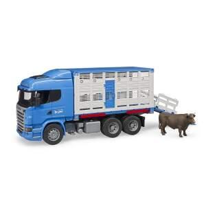 BRUDER vilkikas su galviju, 03549 BRUDER gyvulių transporteris Scania R-Series, 03549
