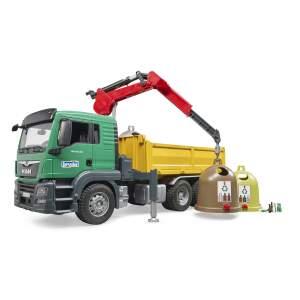 Šiukšliavežis BRUDER MAN TGS sunkvežimis su kranu, ir 3 atliekų konteineriais, 03753