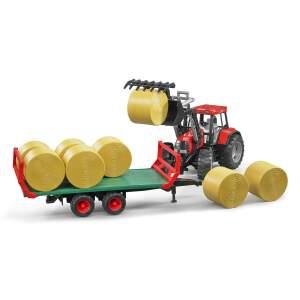 BRUDER žaislinė šieno rulonų  transportavimo priekaba su priedais, 02220