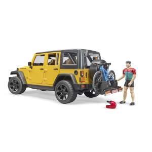 BRUDER  Jeep Wrangler Rubicon Unlimited su dviratininku ir kalnų dviračiu, 02543