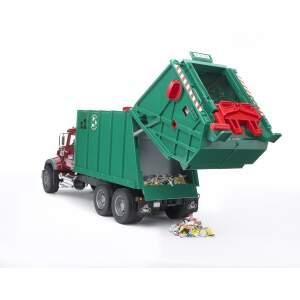 BRUDER Šiukšliavežė pusiauautomatinė šiukšlių mašina su konteineriais (2 vnt.), 02812