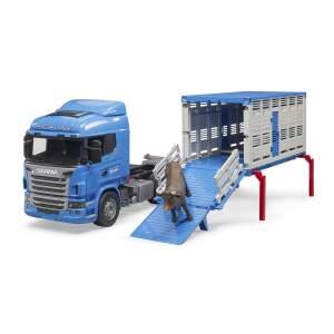 """BRUDER """"Scania R"""" serijos gyvulių mašina su viena karve, 03549"""