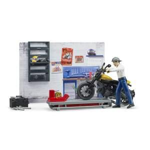 """BRUDER motociklas  """"bworld"""" motociklų dirbtuvės su """"Scrambler Ducati"""", 62102"""