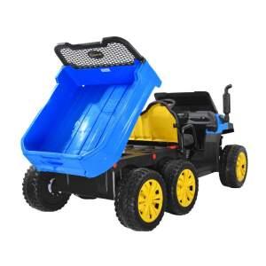 Vaikiškas traktorius su priekaba, žalias