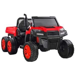 Vaikiškas traktorius su priekaba, raudonas