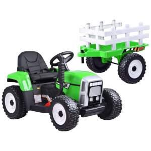 Didelis elektrinis traktorius su priekaba su akumuliatoriumi žalias