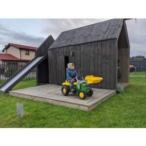 ROLLY TOYS JOHN DEERE minamas traktorius su priekaba ir kaušu