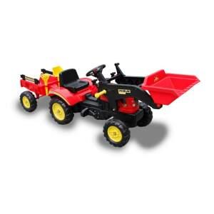 Minamas traktorius su priekaba ir priedais