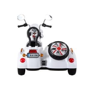 Dvivietis elektrinis motociklas, baltas