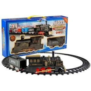 Klasikinis geležinkelio lokomotyvas su vagonu