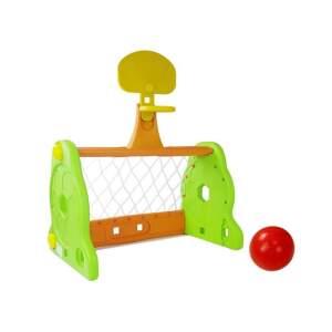 Vaikiški futbolo vartai su krepšinio lanku, žali
