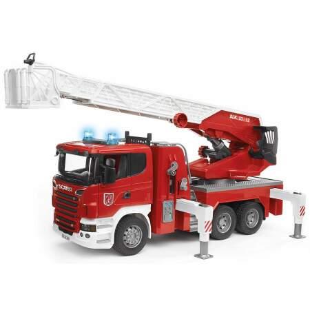 BRUDER Scania gaisrinė mašina su vandens pompa 03590 Gaisrininko mašina, 03590