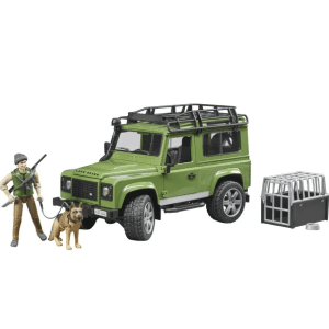BRUDER Land Rover Defender džipas su miško sargu ir šunimi, 02587