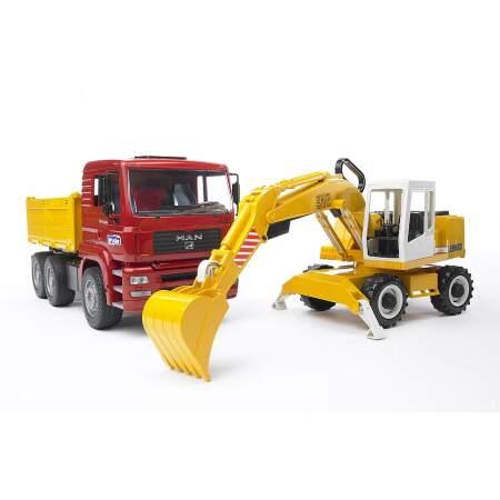 BRUDER Statybinis sunkvežimis MAN TGA su ekskavatoriumi Liebherr, 02751