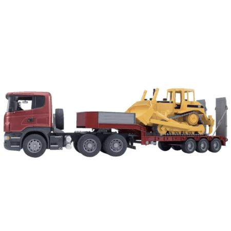 BRUDER sunkvežimis SCANIA su tralu ir CATERPILLAR buldozeriu, 03555